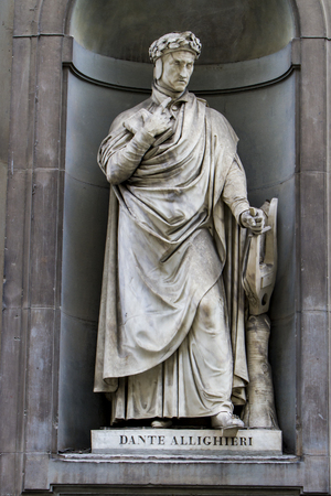 Detail of the Dante Alighieri statue in Florence, Italy