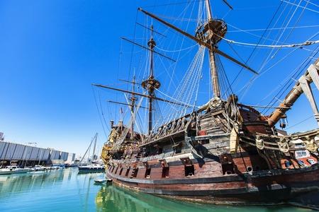 GENOA, ITALY - APRIL 29, 2017: Galleon Neptun in Porto antico in Genoa, Italy. It is a ship replica of a 17th century Spanish galleon built in 1985 for Roman Polanskis film Pirates. Reklamní fotografie