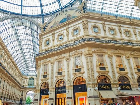 ミラノのヴィットリオ ・ エマヌエーレ 2 世のガッレリアからミラノ, イタリア - 2017 年 4 月 26 日: 詳細。1877 で開かれた、世界最古のショッピング
