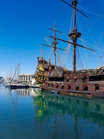 GENOA, ITALY - APRIL 29, 2017: Galleon Neptun in Porto antico in Genoa, Italy. It is a ship replica of a 17th century Spanish galleon built in 1985 for Roman Polanskis film Pirates. Stock Photo