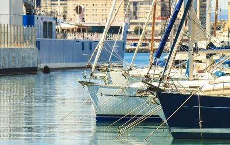 Close up detail view at Genoa port, Italy Stock Photo - 78323575