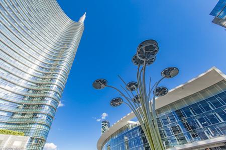 MILAN, ITALY - APRIL 28, 2017: Modern skyscrapers at Porta Nuova in Milan, Italy. Porta Nuova is the main business district of Milan.