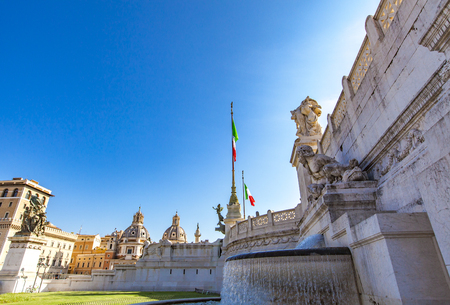 Monument built in honor of Vittorio Emanuele (Victor Emmanuel), the first king of a unified Italy in Rome, Italy Stock Photo