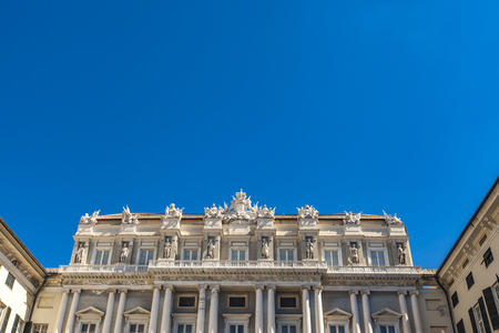 Neoclassical Facade of Doge's Palace (Palazzo Ducale) in Genoa from piazza Matteotti Stock Photo - 78488027
