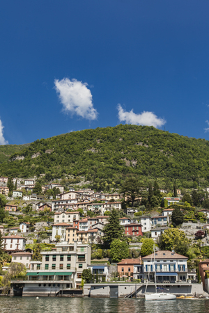 View at Moltrasio, a comune in Province of Como in the Italian region Lombardy Reklamní fotografie - 78381715