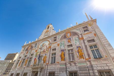 Detail of Palazzo San Giorgio in Genoa, Italy Stock Photo