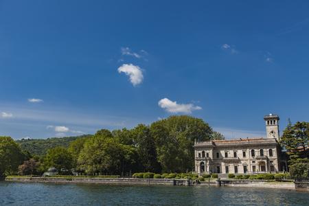 Panoramic view of Cernobbio town at Como lake, Italy Stock Photo