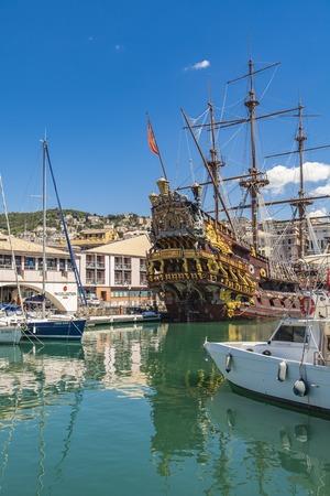 GENOA, ITALY - APRIL 29, 2017: Galleon Neptun in Porto antico in Genoa, Italy. It is a ship replica of a 17th century Spanish galleon built in 1985 for Roman Polanskis film Pirates. Redakční