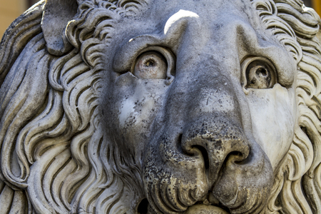 Closeup of the lion of the San Lorenzo Cathedral in Genoa, Italy