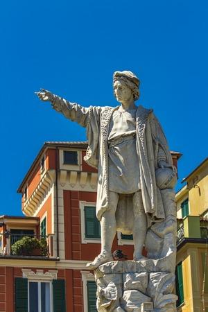 Monument to Christopher Columbus in Santa Margherita Ligure in Italy Editorial