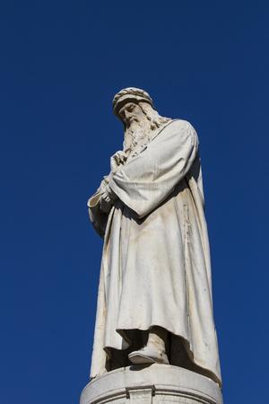 Leonardo da Vinci-monument in Milaan, Italië Stockfoto