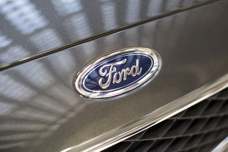 BELGRADE, SERBIA - MARCH 28, 2017: Detail of the Ford car in Belgrade, Serbia. Ford is an American multinational automaker headquartered in Dearborn. Editöryel