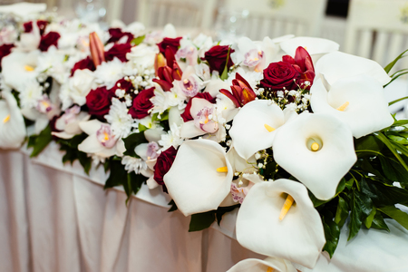Detail of the calla flowers wedding decoration Stock Photo - 79020741