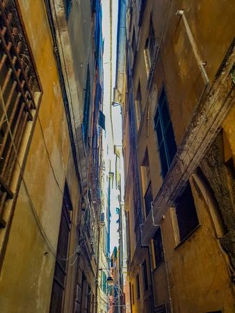View at narrow streets in Genoa, Italy