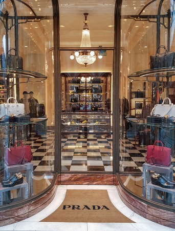 MILAN, ITALY - APRIL 22, 2017: Detail of the Prada store in Milan, Italy. Prada is an Italian luxury fashion house founded at 1913. Editorial