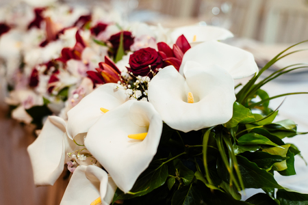 Detail of the calla flowers wedding decoration Stock Photo - 79257547