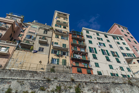View at residential buildings in Genoa, Italy