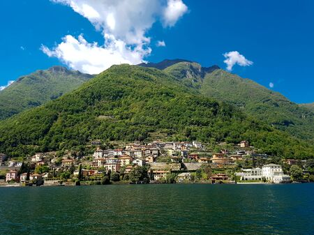 View at town Torriggia on Como lake in Italy 版權商用圖片