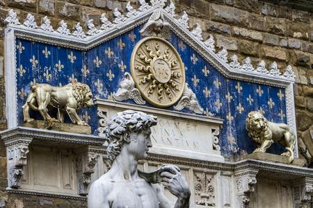 Statua del David and  Palazzo Vecchio in Florence, Italy