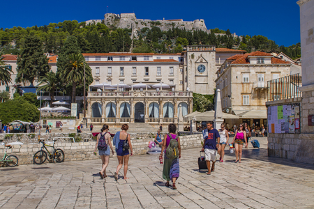 STARI GRAD, CROATIA - JULY 7, 2009: Unidentified people at Stari Grad on Hvar island, Croatia. Hvar is one of the most popular and most visited destination in Croatia.