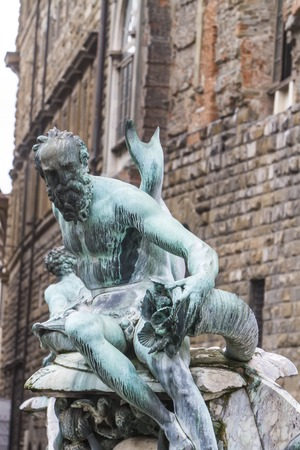 Detail of the Fountain of Neptune in Florence, Italy Stock fotó