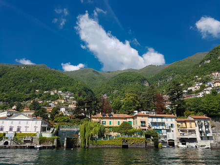 View at town Moltrasio on Como lake in Italy