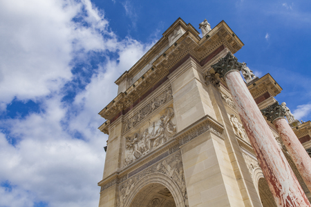 Detail of the Arc de Triomphe du Carrousel in Paris, France Stock Photo