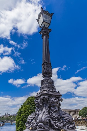 Light post at Pont Neuf in Paris, France Stock Photo