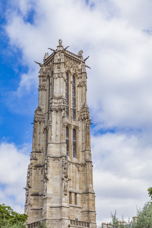 Detail of the Saint Jacques Tower in Paris, France
