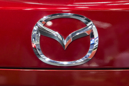 BELGRADE, SERBIA - MARCH 28, 2017: Detail from Mazda car in Belgrade, Serbia. Mazda is Japanese multinational automaker founded at 1920. Editöryel