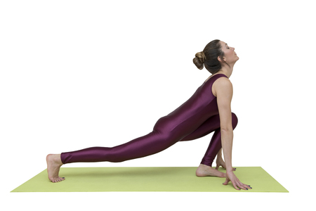 Woman practicing yoga in equestrian position