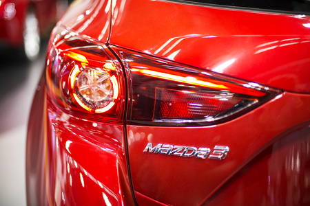 BELGRADE, SERBIA - MARCH 28, 2017: Detail from Mazda car in Belgrade, Serbia. Mazda is Japanese multinational automaker founded at 1920. Redakční