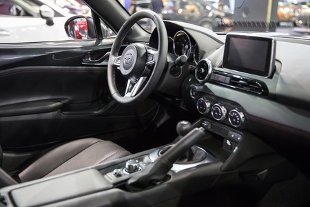 BELGRADE, SERBIA - MARCH 28, 2017: Interior of the Mazda car in Belgrade, Serbia. Mazda is Japanese multinational automaker founded at 1920. Editöryel