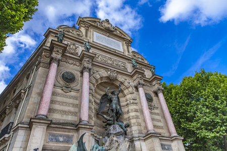 Detail of Fontaine Saint Michel in Paris, France Stock Photo