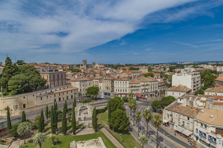 MONTPELLIER, FRANCE - JULY 13, 2015: Aerial view at Montpellier, France. Montpellier is the 8th largest city of France, and fastest growing city in the country Editorial