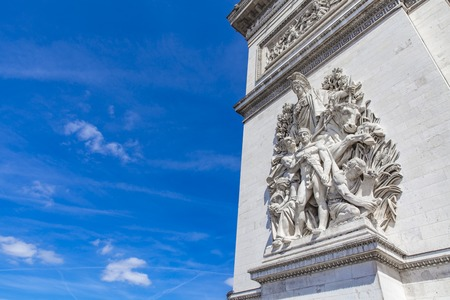 Detail of the Arc de Triomphe in Paris, France