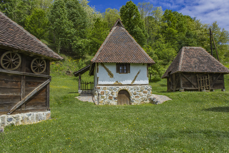 Old traditional house at Dobri Potok in Serbia Stock Photo