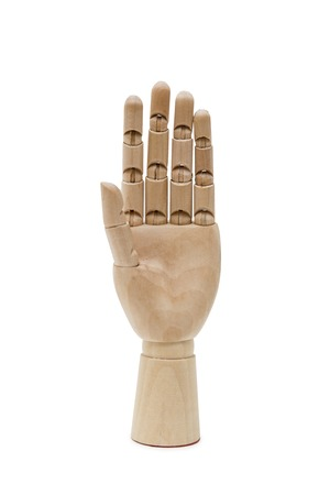 Wooden hand isolated on white
