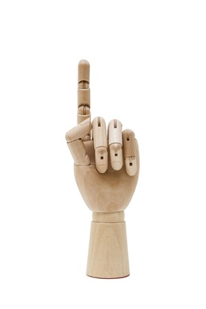 Wooden hand isolated on the white background Banco de Imagens