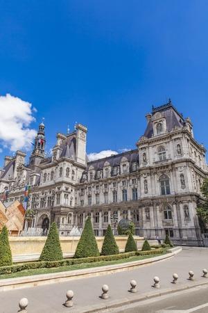 ville: Detil of the Hotel de Ville (City Hall) in Paris, France