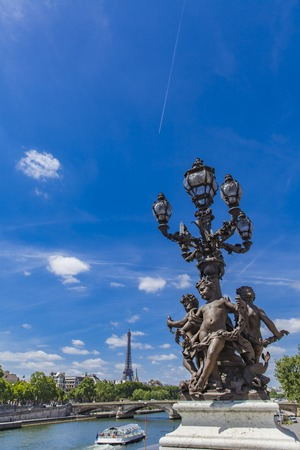 Vintage lanterns at Pont Alexandre III in Paris, France Stock Photo - 81178178