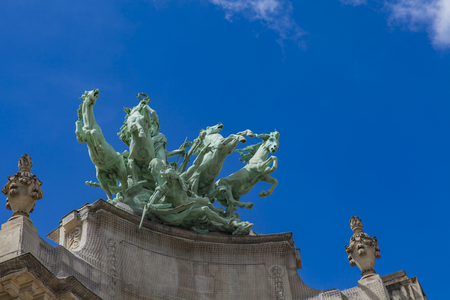 Quadriga statue at Grand Palais in Paris, France Фото со стока