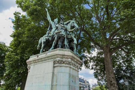 View at statue Charlemagne et ses Leudes by Cathedrale Notre Dame de Paris Stock Photo