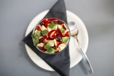 Close up view at chia puding with fruit Stok Fotoğraf