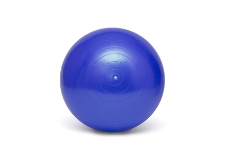 Blue pilates ball isolated on the white Banco de Imagens