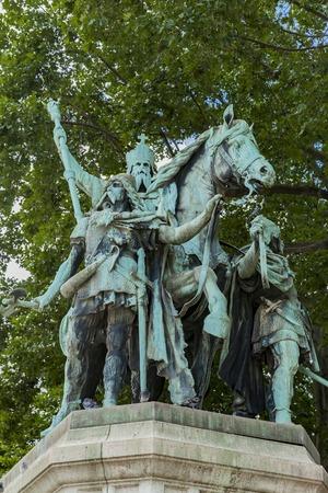 View at statue Charlemagne et ses Leudes by Cathedrale Notre Dame de Paris Editorial