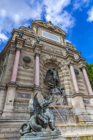 Detail of Fontaine Saint Michel in Paris, France Editorial