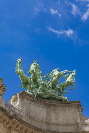Quadriga statue at Grand Palais in Paris, France Editorial