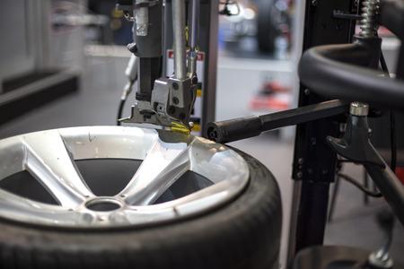 Closeup detail of the modern tyre service Stok Fotoğraf