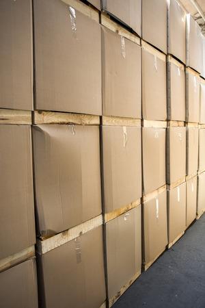 Close-updetail van de pakketten in het pakhuis Stockfoto